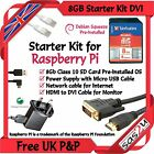 Starter Kit for Raspberry Pi Computer - 8Gb SD Power MicroUSB DVI Network Cable