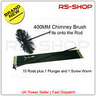 "16"" 400MM Chimney Flue Sweep Brush & 9M Drain Rod Set + Screw Worm and Plunger"