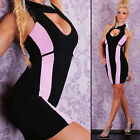 NEW SEXY HALTER NECK COCKTAIL EVENING PARTY MINI DRESS STRIPED BLACK 8 10 12
