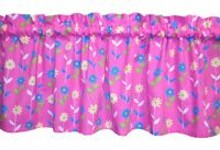 NEW custom colorful valance KIDS floral BLUE yellow GREEN on PINK flowers