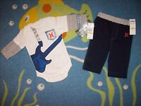 Hurley Outfit Bodysuit/Pants Baby Infant Boys 2pc Set 0-3 Mos  Guitar NWT