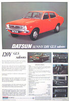 Datsun Nissan 120Y Sunny GLS Saloon 1977-78 Original UK Sales Brochure