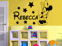 Minnie Mouse Personalised girls bedroom wall sticker kit