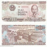 VIETNAM 2000 Dong Banknote World Currency Money BILL Asia Note Ho Chi Minh p107a