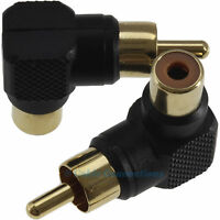 2 RIGHT ANGLED PHONO PLUG CONNECTORS RCA CABLE ADAPTORS COMPOSITE VIDEO/AUDIO AV