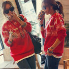 Womens Merry Christmas Snow Deer Boat Neck Long Sleeve Knitted Sweater Jumpers