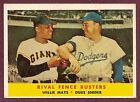 1958 Topps #436 Rival Fence Busters Willie Mays & Duke Snider EX+ (C)