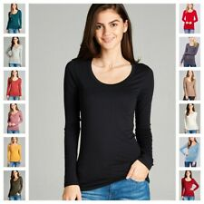 NEW WOMEN BASIC SCOOP NECK LONG SLEEVE FITTED SOLID TOP STRETCH T SHIRT S M L