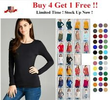 NEW WOMEN CREW NECK LONG SLEEVE FITTED TOP SOLID STRETCH T SHIRT S M L 1X 2X 3X