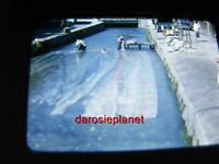 HONG KONG 50's 35mm slide Red Kodachrome 2 MEN w/fabric STAND WATER CANAL China
