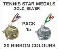 PACK OF 15 (£1.65 each!) Tennis Star Medals with Ribbon 60mm Metal Ref: SM8-MR1