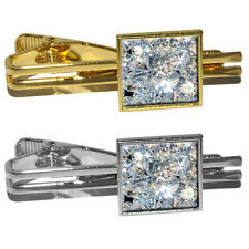 Loose Diamonds (Image Only) Square Tie Bar Clip Clasp Tack