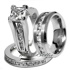 3 pcs Womens Mens Stainless Steel His Her Engagement Wedding Match Band Ring Set
