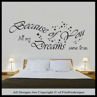 Wall Stickers Quotes, Wall Decals, Wall Art, Graphics, Murals, Because Of You