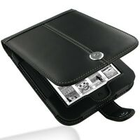 Pdair Black Hand Made Leather Flip Case Carry Cover for Nook Simple Touch
