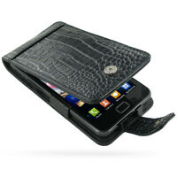 Pdair Black Leather Croco Flip Case for Samsung Galaxy SII S II S 2 S2 i9100