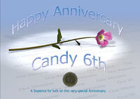 Sixpence for Luck 6th Candy Wedding Anniversary Card