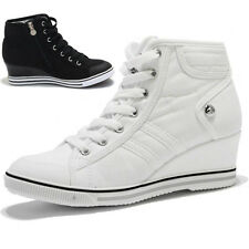 Women's White Canvas High Top Lace up Zipper Wedge Heeled Trainers Sneakers