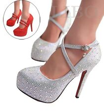 Women Glitter Rhinestones Studded Pumps Platform Wedge high heel Shoes Strappy
