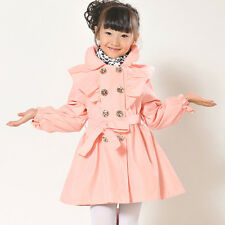 Kids Girls Baby Children's Coat Outerwear Jackets Double-breasted Trench Coat
