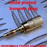 1 x GOLD PLATED BANANA PLUG BLACK 4mm HIGH QUALITY IDEAL FOR SPEAKER CONNECTIONS