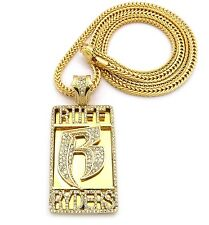 """Iced Out Ruff Ryders R Pendant w/4mm 36"""" Franco Cuban Chain Necklace FXP946"""