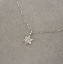 "14K WHITE GOLD PAVE DIAMOND STAR OF DAVID PENDANT NECKLACE 16"" or 18""  FULL CUTS"