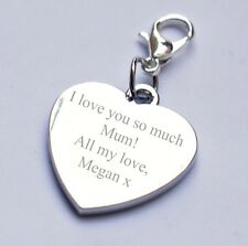 Engravable Heart Charm for Mum/Mother any text/message/wording birthday gift
