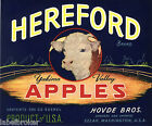 APPLE CRATE LABEL WASHINGTON VINTAGE LIVESTOCK BULL SELAH 1940 SCARCE HEREFORD