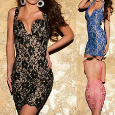 New Sexy Party Black Shiny Hollow Out Lace Backless Club Cocktail Bodycon Dress