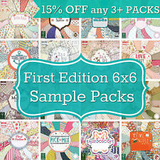 FIRST EDITION 6x6 PAPER 200gsm 16 SHEET SAMPLE PACK Fab for Cardmaking Scrapbook
