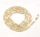"24"" 3mm 8.8gr Solid Figaro Chain Necklace Genuine Real 14K Yellow Gold"