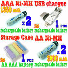 4 x AA AAA NiMH Rechargeable Battery USB Charger GODP W