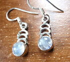 Small Moonstone Nicely Accented 925 Sterling Silver Dangle Earrings New