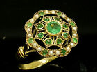 C759 Genuine 9K SOLID Gold NATURAL Emerald & Pearl Vintage style Ring in yr size