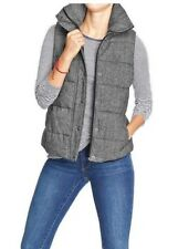 NEW WOMENS ALL SIZES & TALL OLD NAVY QUILTED TWEED PUFFER VEST BLACK GRAY JACKET
