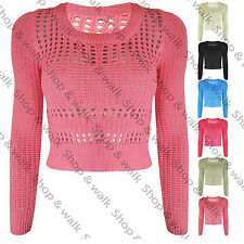 Pour femme crochet manches longues en maille crop cropped net Pull Taille 8-14