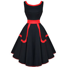 Hearts and Roses London Black Red 50s Vintage Party Prom Pinup Dress