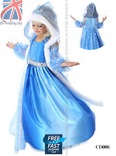 Frozen Princess Queen Elsa Cosplay Fur Cape Costume Party Fancy Dress 3-8  CD006