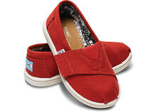 TOMS 013001D13RED: Tiny Toms Classic Canvas Shoes Red Toddler's Size
