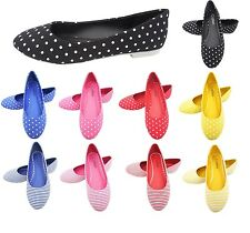 LADIES WOMENS BALLET PUMPS, BALLERINA BALLET DOLLY FLAT SPOTTY SHOES - NEW
