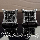 STUNNING!! $69 Mens Simulate BLACK Diamond 14k White Gold Gp HipHop ICE Earrings