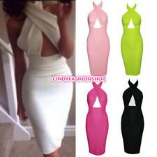 Women  Sexy Backless Cross Halter Bandage Bodycon Evening Party Clubwear  Dress