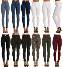 WOMENS LADIES HIGH WAISTED  STRETCHY SKINNY JEANS JEGGINGS PANTS 6 8 10 12 14 16
