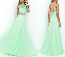 New Chiffon Two Piece Beaded Crop Top & Long Skirt Prom Dress Evening Party Gown