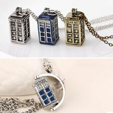 3D Police Box Doctor Who TARDIS Pewter Tall Long Chain Pendant Necklace 4 Types