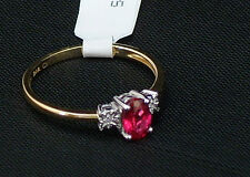 9ct Gold Ruby and Diamond Ring Size L - M - N - O