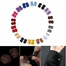 Mens Casual Plain Silk Cotton Knot Wedding Party Gift Shirt Cuff links Cufflinks