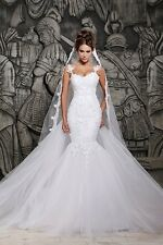 White See Through Mermaid Wedding Dresses With Removable Train Bridal Dresses