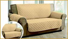 QUILTED BEIGE JACQUARD SOFA PET PROTECTOR SOFA SLIP THROW COVER 1,2,3 SEATER